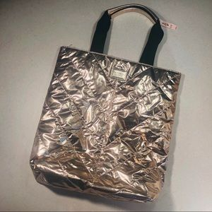 Victoria's Secret Quilted Metallic Tote NWT